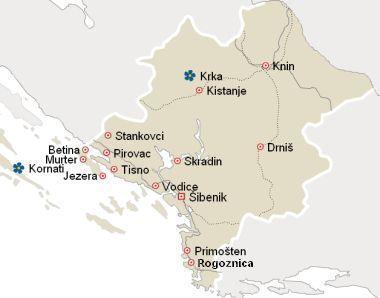 Mapa Centralna Dalmacija Hrvatska Smjestaj Sibenik Apartmani